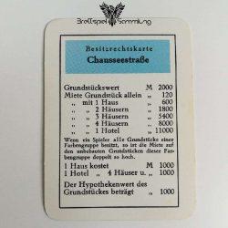 Monopoly Silber Edition Besitzrechtkarte Chausseestraße
