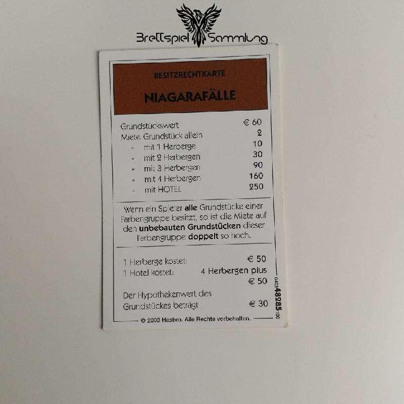 Monopoly Weltreise Besitzrechtkarte Braun