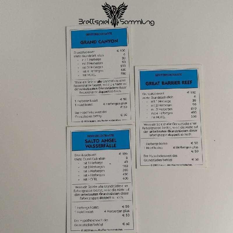 Monopoly Weltreise Besitzrechtkarten Hellblau