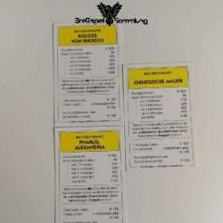 Monopoly Weltreise Besitzrechtkarten Gelb