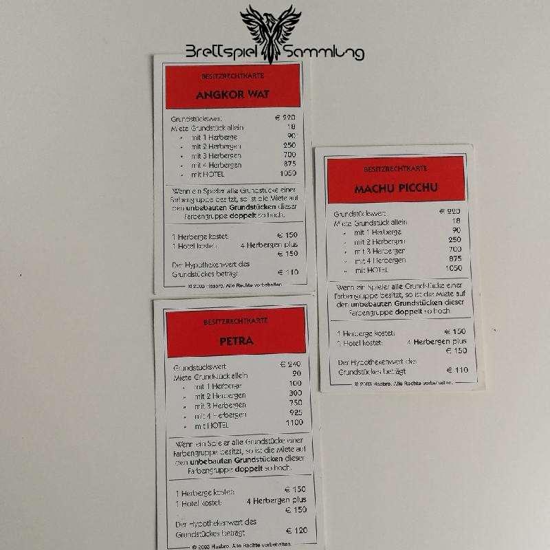 Monopoly Weltreise Besitzrechtkarten Rot
