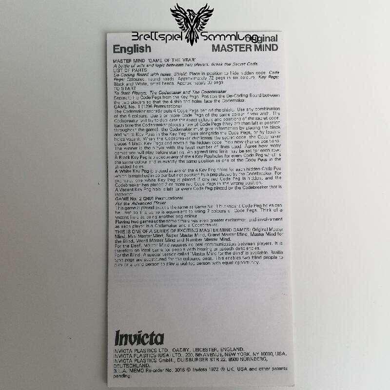 Invicta Original Master Mind Spielanleitung