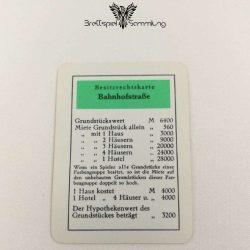 Monopoly Silber Edition Besitzrechtkarte Bahnhofstraße