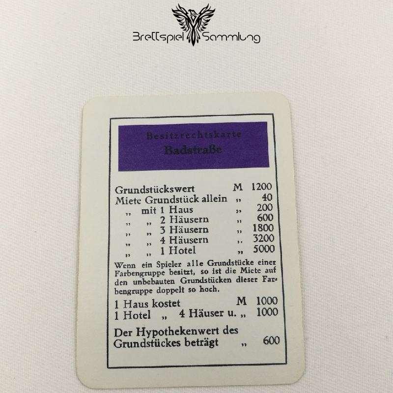 Monopoly Silber Edition Besitzrechtkarte Badstraße
