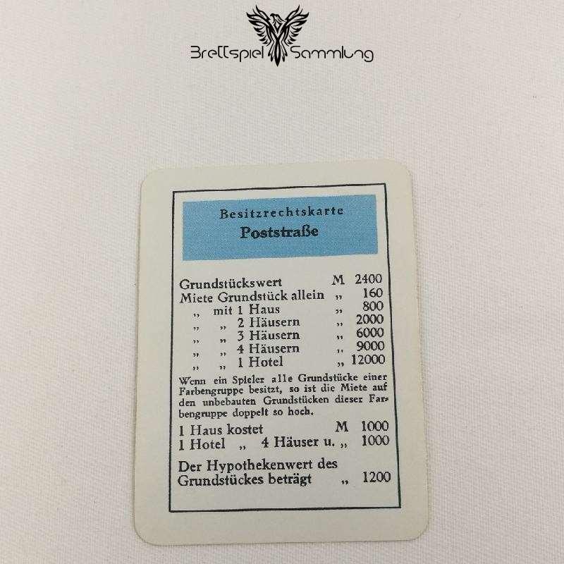 Monopoly Silber Edition Besitzrechtkarte Poststraße