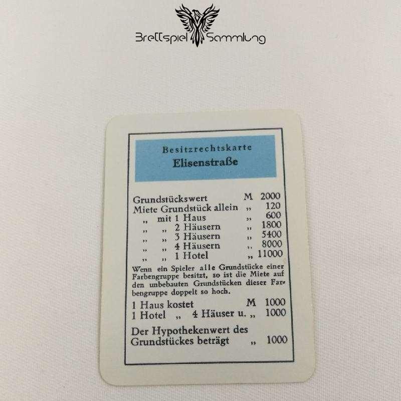 Monopoly Silber Edition Besitzrechtkarte Elisenstraße