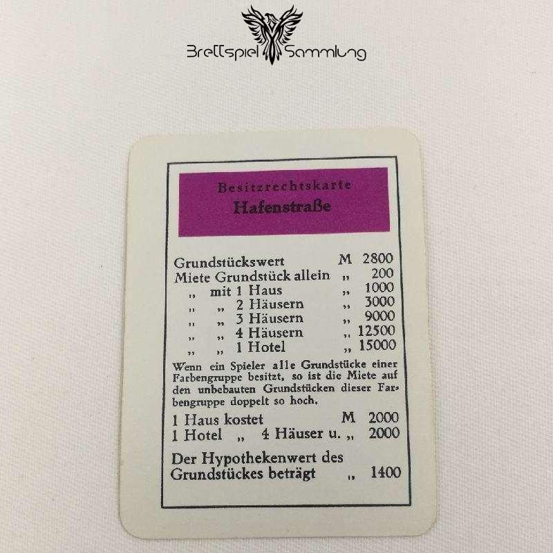Monopoly Silber Edition Besitzrechtkarte Hafenstraße