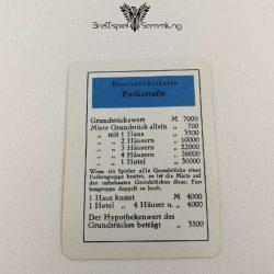 Monopoly Silber Edition Besitzrechtkarte Parkstraße